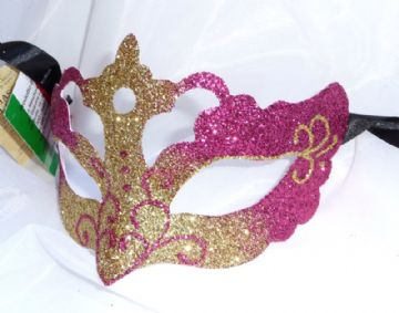 Genuine Venetian Glittered Cerise & Gold half Mask